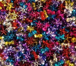 1,000 Pcs Assorted Metallic 12mm Starflake Sunburst Plastic