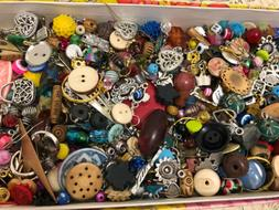 1/2 LB Jewelry making supplies CHARM PENDANT BEADS BUTTONS M