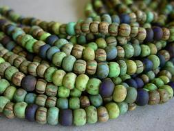 5/0 Czech Seed Beads- Matte Rainforest Striped Aged Picasso