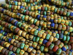 6/0 Czech Seed Beads- Turquoise Matte Striped Aged Picasso