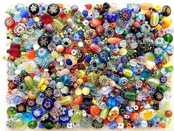 1/4 LB Assorted Czech Glass Millefiori Flowers Cat Eye Bulk