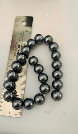 1 Strand Multicolored 14mm Round Glass Pearl Beads Gray 22 B