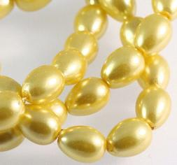 1 Strand Sun Yellow Glass Based Pearl 9x7mm Teardrop Beads *