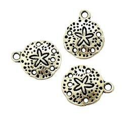10 Antiqued Tibetan Silver 15mm Beach Sand Dollar with Holes