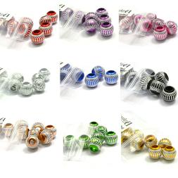 10 Big 12mm Round Aluminum Large Hole European Beads with Si