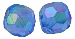 10 Blue Faceted Rondelle Iridescent Beads Crafts Jewelry Mak