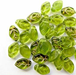 10 Czech Glass Leaf Beads Green Gold Jewelry Supplies 12mm M
