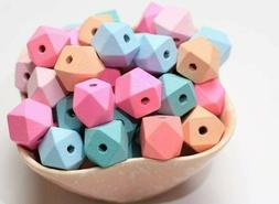 10 Geometric Wood Beads Assorted 15mm Mixed Lot Jewelry Maki