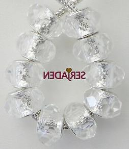 10 Ice Clear Faceted Acrylic Beads European Style 9 * 14 mm