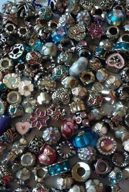 10 Pc EUROPEAN BEADS 4 Charm Bracelets Mixed Color Lot US Se