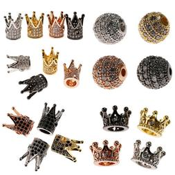 5/10Pcs Crown Spacer Beads Micro Pave CZ Bracelets Charms Je
