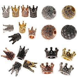 5/10Pcs Crown Spacer Beads Micro Pave CZ Bracelets Charms Je