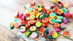 10 Polymer Clay Fruit Beads Assorted Lot 7mm to 12mm Food Je