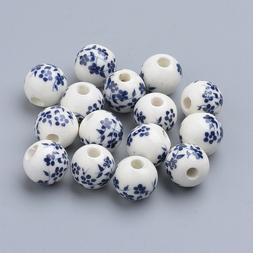 10 Porcelain Flower Beads 10mm White Blue Ceramic Jewelry Ma