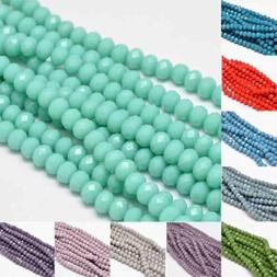 10 Strds Opaque Glass Beads Rondelle Faceted Tiny Wholesale