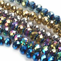 10 Strds Electroplate Glass Beads Faceted Rondelle Colorful