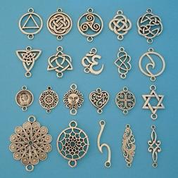 10 x Antique Silver Tone Connector Charms Pendants Beads for