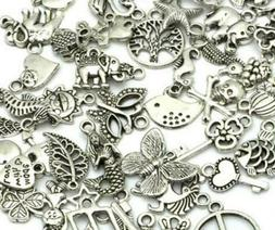 100 Assorted Charms Mixed Craft Antiqued Silver Beading Supp