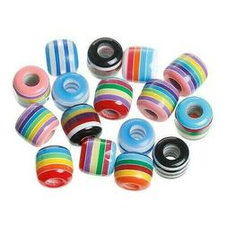 100 Assorted Rainbow Striped 12mm Tube Cylinder Large Hole A