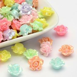 100 Beads! 12mm Acrylic Pastel Multi-Color Assorted Flower R