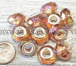10 20 Brown IRIDESCENT Beads - European Style Charms - for B
