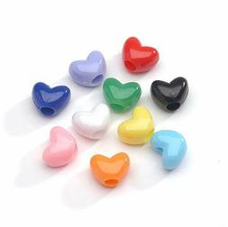 100 BULK Beads Acrylic Heart Beads Assorted Lot 9mm Beads Wh