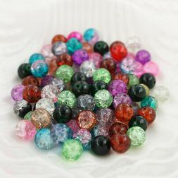 100 Crackle Glass Beads 8mm x 7mm - Assorted Colors - BD236B
