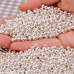 100 Genuine 925 Sterling Silver Round Ball Beads for Jewelry