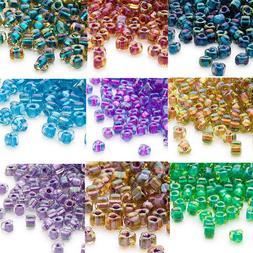 100 glass triangle seed beads 5 0