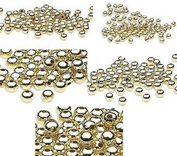 100 Gold Finished Steel Metal Round Spacer Beads 2.5mm 3mm 4