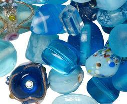 100 Grams  Lampwork Glass Turquoise Blues Beads Ocean Sea Co