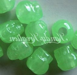 100 Green Glow in the dark Skull pony beads for kandi craft