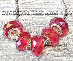 100 Iridescent RED Beads - Acrylic Rondelle Style Charms Who