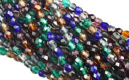 100 Jewel Mix Czech Glass Faceted Fire Polished Round Beads