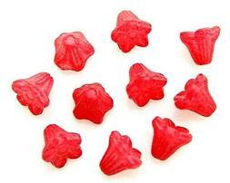 100 Mini Tulip Red Fushsia Czech Glass 6mm Scalloped Flower