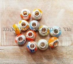 100 ORANGE Charms | Wholesale Bulk Millefiori Style Glass Be