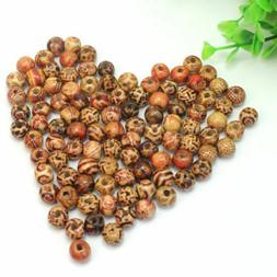 100 pcs 10mm Mixed Wood Round Beads for Jewelry Making Loose