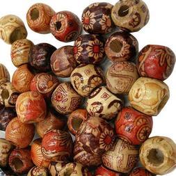 100 Pcs Mixed Large Hole BOHO Wooden Beads for Macrame Europ