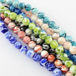 100 Pcs Round Handmade Lampwork Beads Crafts Mixed Color 14m