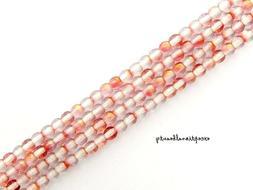 100 Pink Crystal 2 Two Tone Preciosa Czech Druk Glass Smooth
