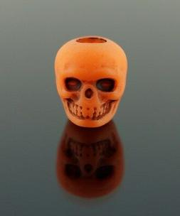 100 Plastic Orange Skull Pony Beads 10mm - Halloween, Goth,