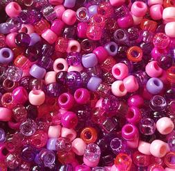 100 Very Berry Pony Beads Mix Pink Purple Lilac Fuschia Pear