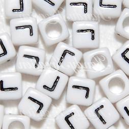 100 White & Black L Letters 6mm alphabet pony beads For Rave