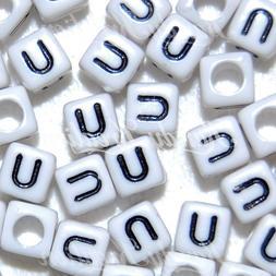 100 White & Black U Letters 6mm alphabet pony beads For Rave