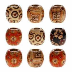 100 x Mixed Large Hole BOHO Wooden Beads for Macrame Europea