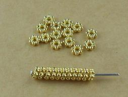 100Pcs 4mm Gold/Sliver Plated Tiny Daisy Metal Spacer Beads