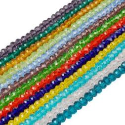100Pcs 4mm  New 12 Colors Crystal Rondelle Glass Loose Beads