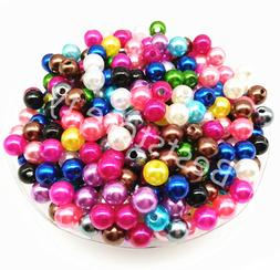 100Pcs 6mm Acrylic Round Pearl Spacer Loose Beads Children D