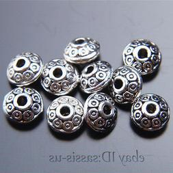 100pcs 7mm Charms Spacer Beads Round circle Tibet Silver DIY
