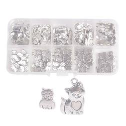 100PCS Antiqued Silver Metal Cat Beads Charms for Jewelry Ma